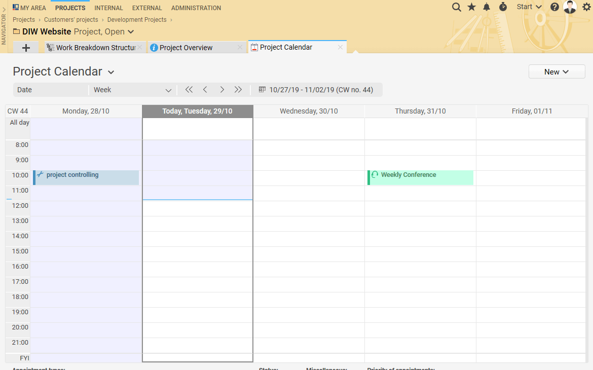 The project calendar shows you all appointments and dates regarding your project