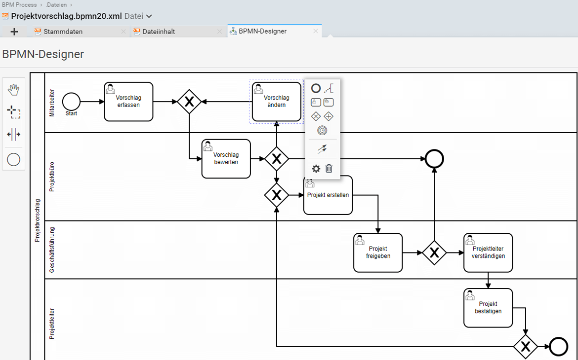 Edit BPMN processes easily and graphically directly in Projektron BCS