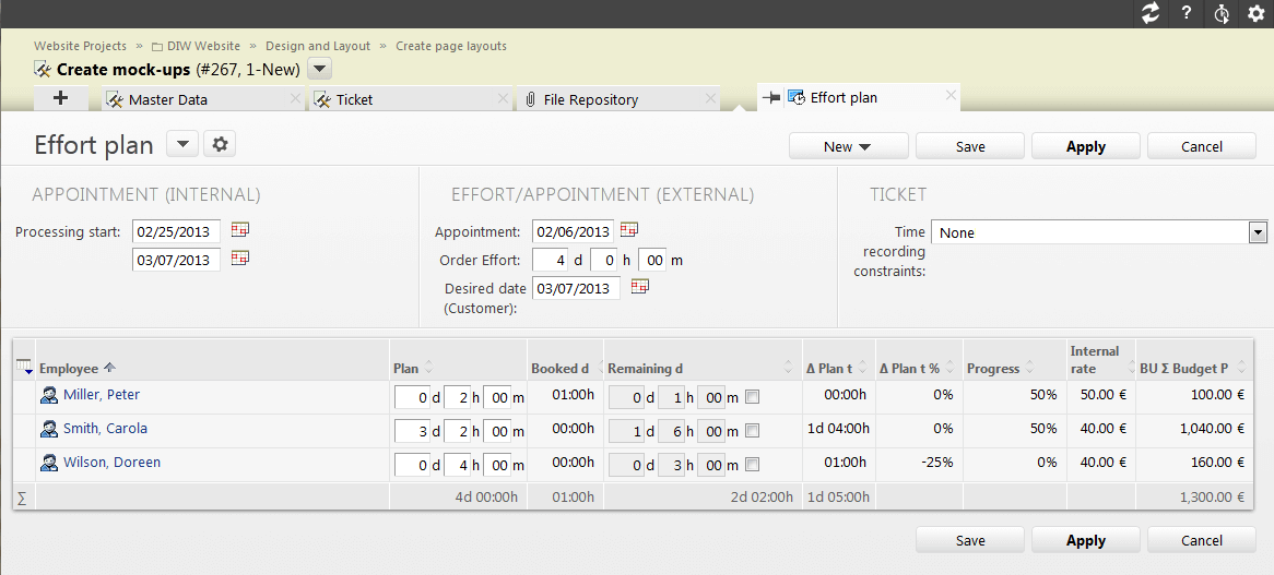 Transparency in the ticket: Plan and monitor total hours easily