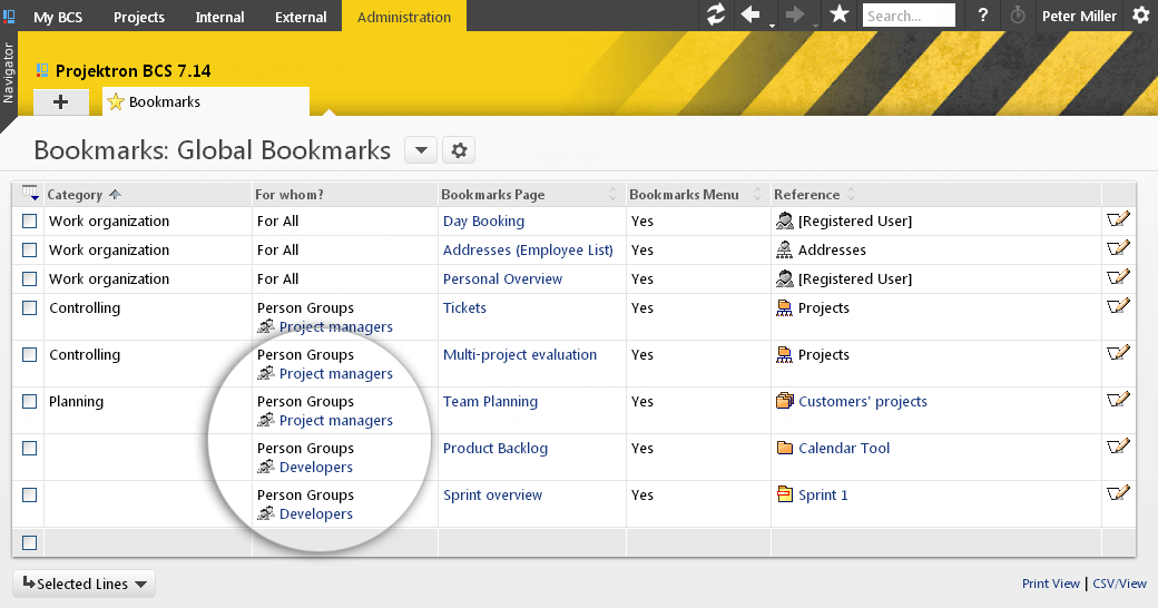 Global bookmarks: Can be administrated centrally including for specific target groups