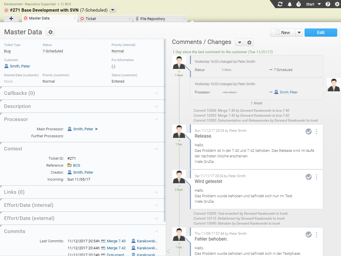 New commits can be viewed directly in the ticket